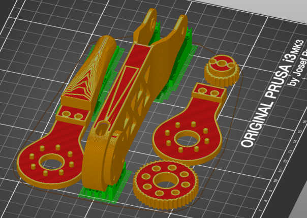 Leg parts laid out in Slic3r Prusa Edition