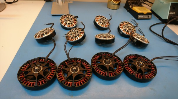 Motors with magnets attached