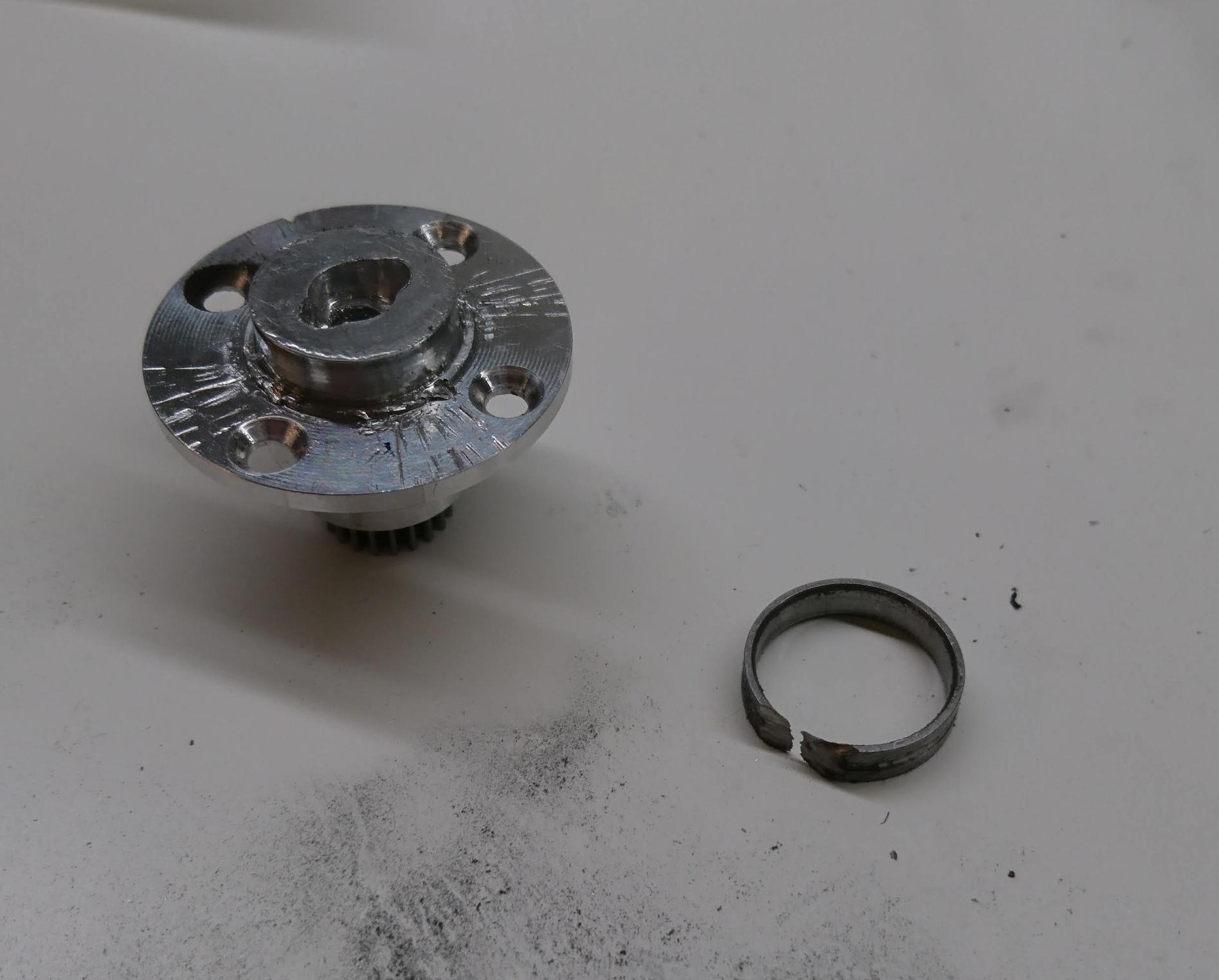 Rotor bearing removed